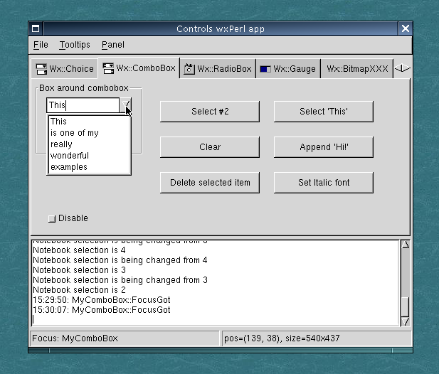 Controls sample (Linux, GTK 1.2); Wx::ComboBox page