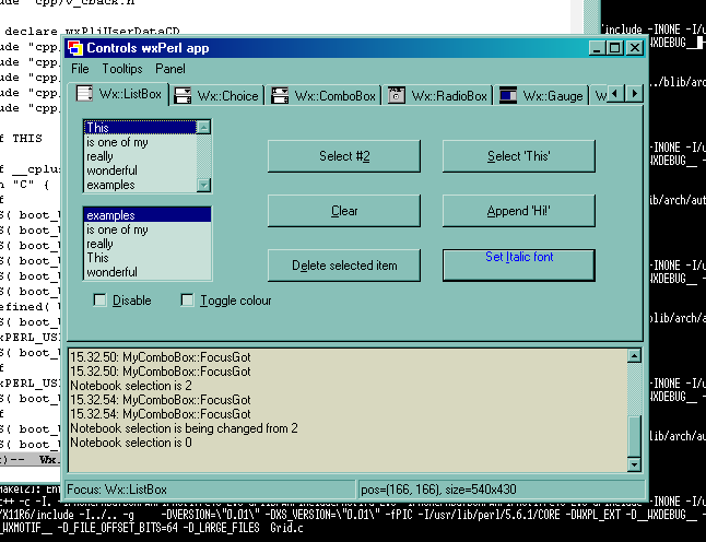 Controls sample (Microsoft Windows 2000); Wx::ListBox page